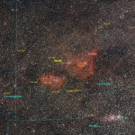 Annotated widefield image of the Heart and Soul Nebulae the Double Cluster and surrounds.