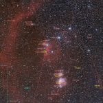 Orion's belt and sword region using 85mm lens - annotated image.