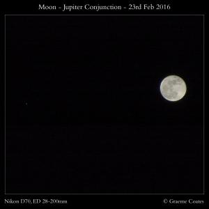 Moon Jupiter Conjunction - 23rd Feb 2016