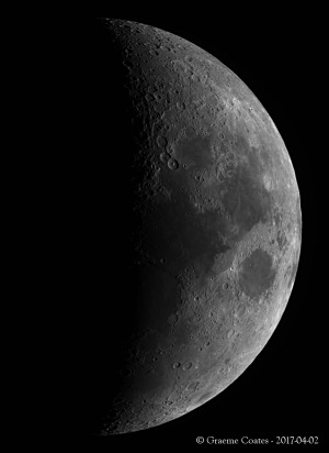 Waximg Moon in H-Alpha Light - 2017-04-02